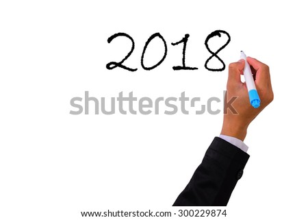 Business  Hand writing with marker  2018 - stock photo