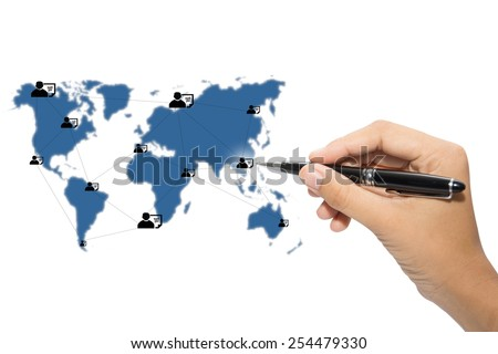 Business hand writing world map and connection lines  - stock photo