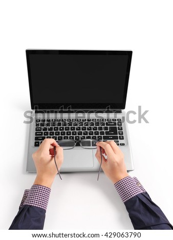 business hands busy using laptop at office desk