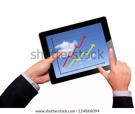 Business hands Hold  on a tablet