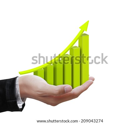Business hands holding colorful  graph - stock photo