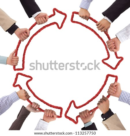 Business hands holding red arrows isolated on white - stock photo
