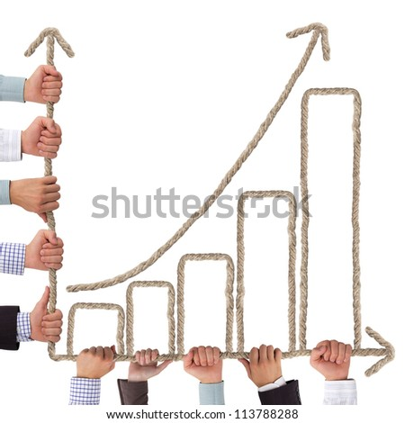 Business hands holding rope forming graph - stock photo