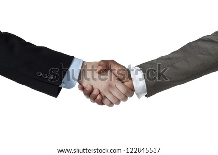 Business handshake against white background