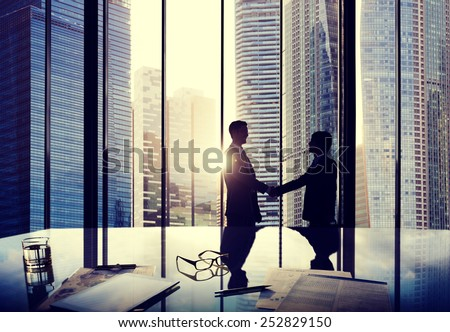 Business Handshake Agreement Partnership Deal Team Office Concept - stock photo