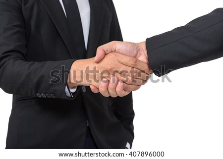 Business handshake and business people concepts. Two men shaking hands isolated on white background, with clipping path - stock photo