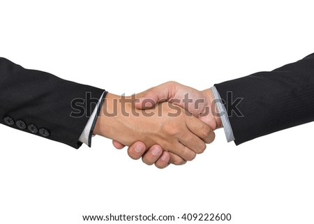 Business handshake and business people concepts. Two men shaking hands isolated on white background, with clipping path. - stock photo