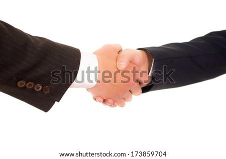 Business handshake and business people, hispanic - stock photo