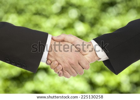Business handshake and business people, on beautiful green background - stock photo