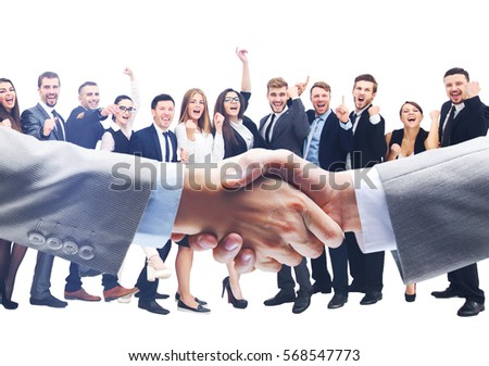 Business handshake and happy energetik business people