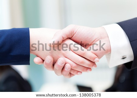 Business handshake between men and woman - stock photo