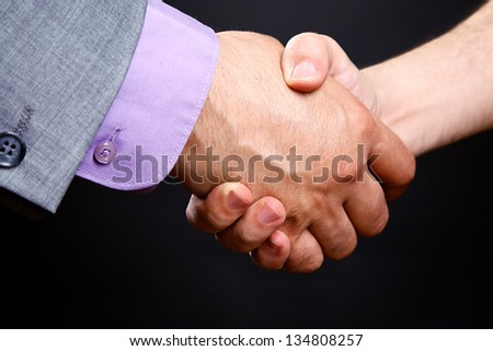 Business handshake: businessman hires man