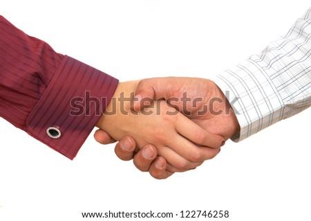 business handshake close up on white - stock photo