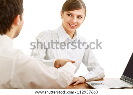 Business handshake, isolated on white background - stock photo