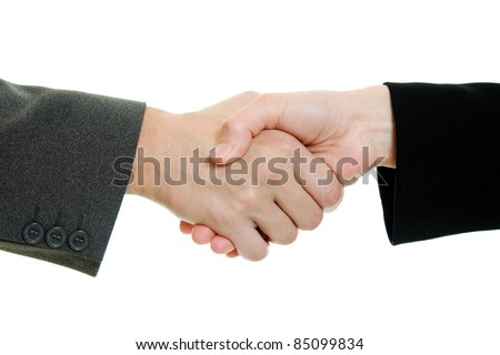 Business handshake on a white background.