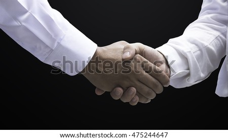 Business handshake on dark background background, black, dark, trust, business, job, friendship, partnership, money, handshake, employment, symbol, strong, people, worker, shake, illustration, men