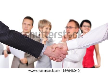 business handshake on people background - stock photo