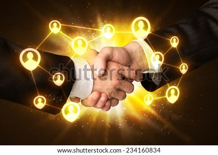 Business handshake, Social media concept - stock photo