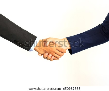 Business handshake. Two businessman shaking hands
