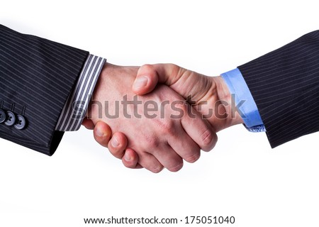 Business handshake with a promise of partnership