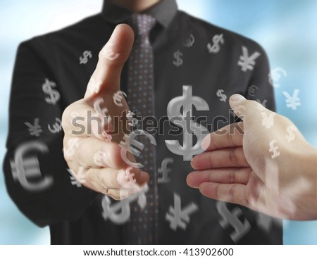 Business handshake with business people - stock photo