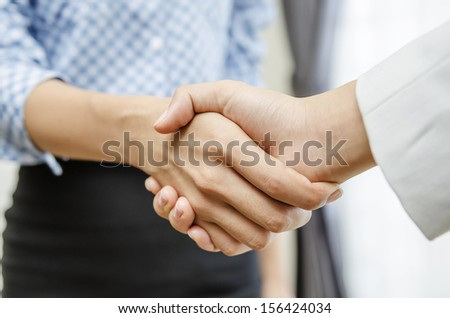 Business handshaking in the office - stock photo