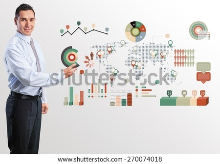 Business. Happy Young Businessman Presenting Isolated Over White Background - stock photo
