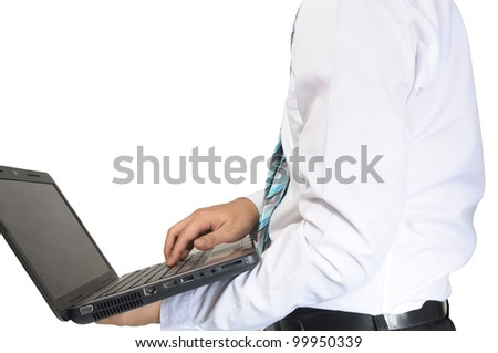Business hold laptop on white background