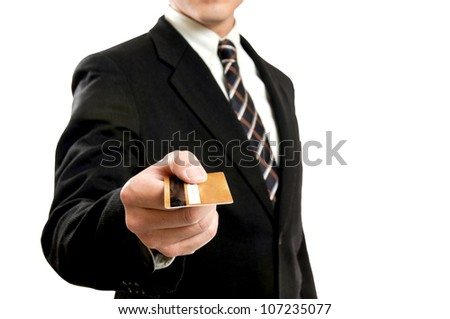 Business holding credit card for pay something.
