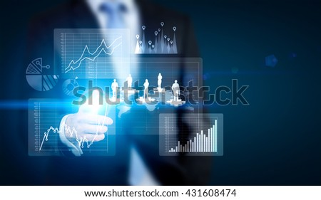 Business, HR and teamwork concept  with businessman pointing at abstract chart and people silhouettes on puzzle pieces - stock photo