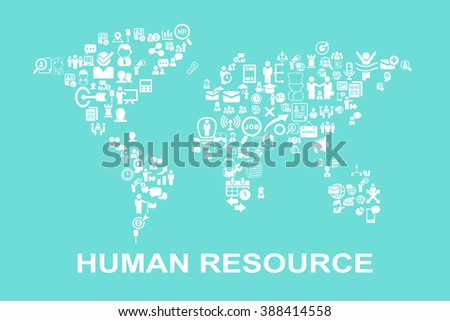 Business Human resource concept - icon with world map - stock photo
