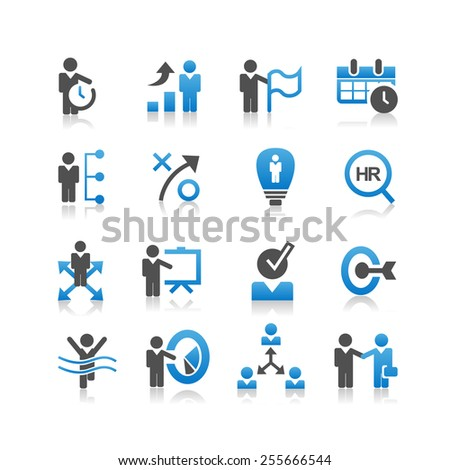 Business human resources icon set - Simplicity Series - stock photo