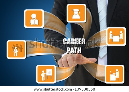 Business icon of career path concept - stock photo