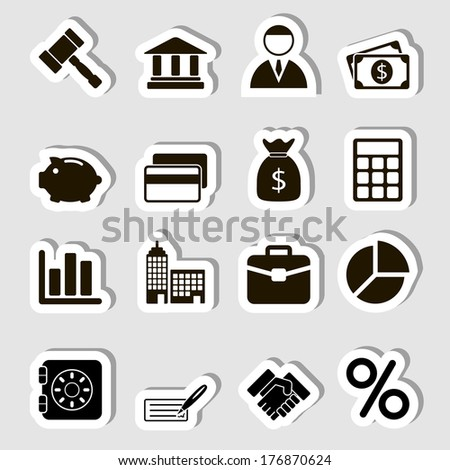 Business Icons Set as Labes - stock photo