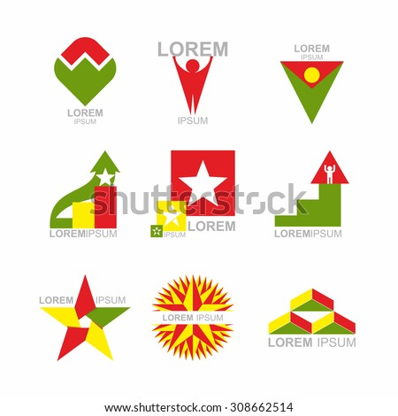 Business Icons Set. Design elements for business templates. Collection of logos on a white background  - stock photo