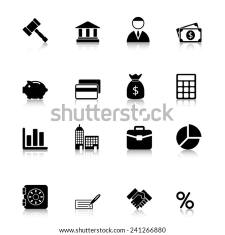 Business Icons Set with reflection - stock photo