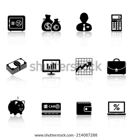 Business icons with reflection - stock photo
