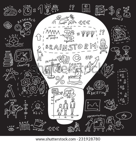 Business idea bulb  Metaphor illustration about business idea with bulb and set of draw icons. Doodles black and white illustration. - stock photo