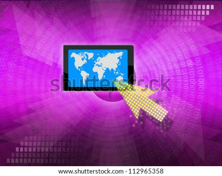 business idea by yellow  arrow selecting business icon on modern purple color background.