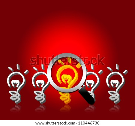 Business Idea Concept, A Magnifying Glass Hovers and Zoom Over Yellow Light Bulb With Some Space Above For Your Own Text Message - stock photo