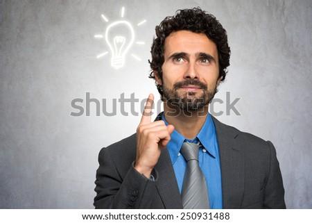 Business Idea concept: businessman having a good idea - stock photo