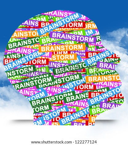 Business Idea Concept Present By Colorful Brainstorm Label in Head in Blue Sky Background - stock photo