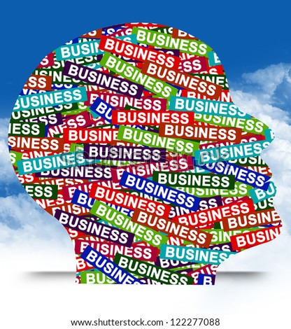 Business Idea Concept Present By Colorful Business Label in Head in Blue Sky Background - stock photo