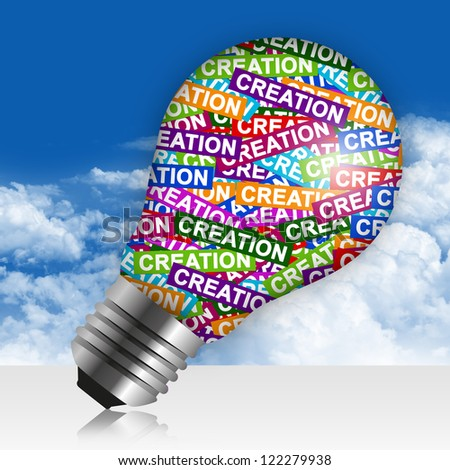 Business Idea Concept Present By Colorful Creation Label in Light Bulb in Blue Sky Background - stock photo