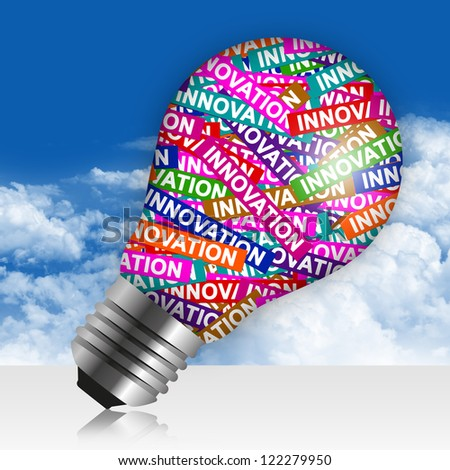 Business Idea Concept Present By Colorful Innovation Label in Light Bulb in Blue Sky Background - stock photo