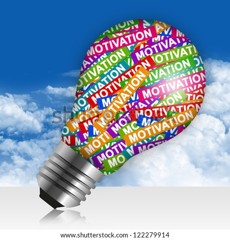 Business Idea Concept Present By Colorful Motivation Label in Light Bulb in Blue Sky Background - stock photo