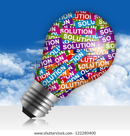Business Idea Concept Present By Colorful Solution Label in Light Bulb in Blue Sky Background - stock photo