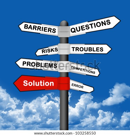 Business Idea Concept With Solution and Many Problem Traffic Sign on Blue Sky Background - stock photo