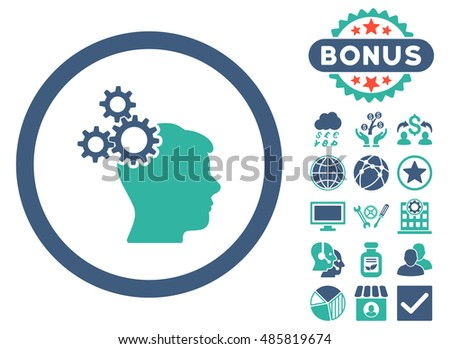 Business Idea icon with bonus design elements. Glyph illustration style is flat iconic bicolor symbols, cobalt and cyan colors, white background.