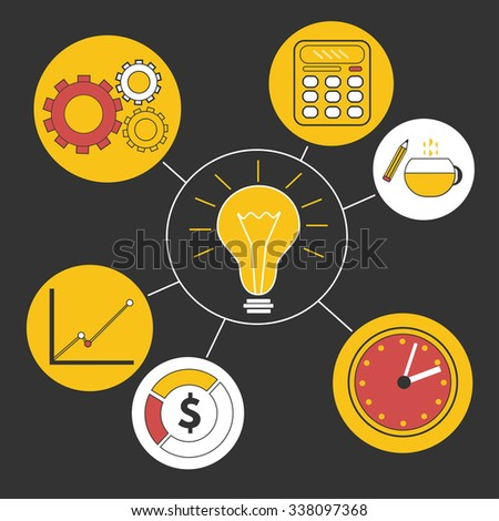Business idea info graphics template. Creative background with clock, lamp, calculator, statistics  - stock photo